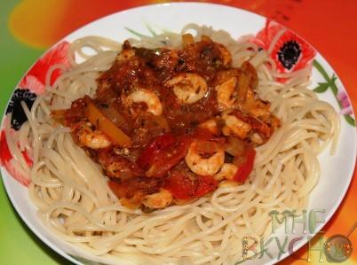 Спагетти с соусом из креветок